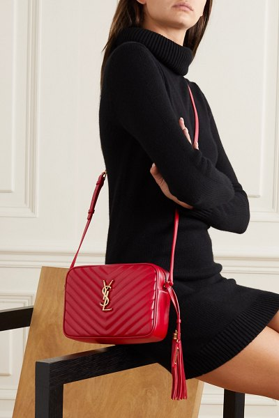 Saint Laurent lou medium quilted leather shoulder bag in red