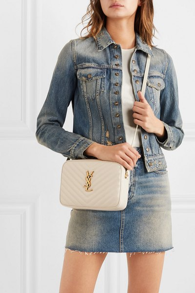 Saint Laurent lou medium quilted leather shoulder bag - off-white in white