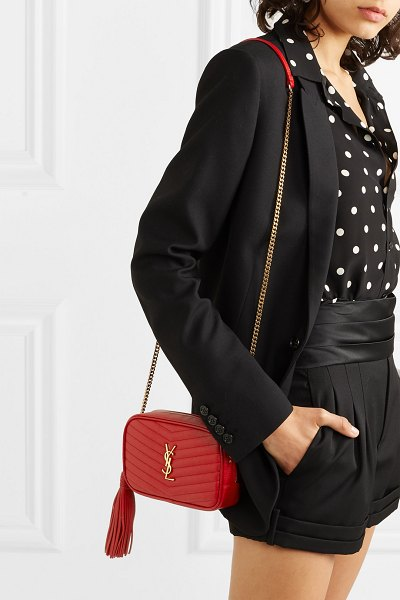 Saint Laurent lou mini quilted textured-leather shoulder bag in red