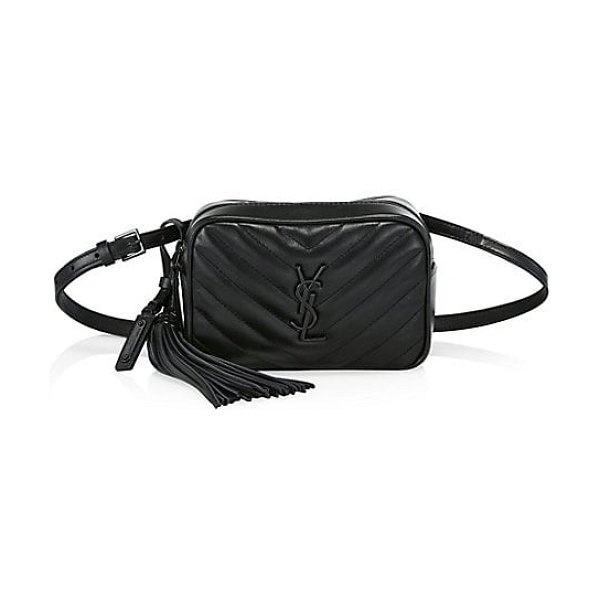 Saint Laurent lou quilted leather belt bag in black - Bold YSL insignia elevates this luxe leather quilted...