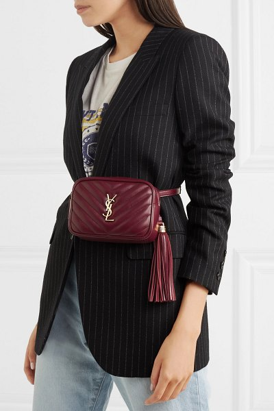 Saint Laurent lou quilted leather belt bag in burgundy - First championed by the underground skate scene, belt...