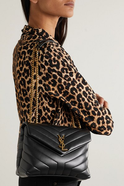 Saint Laurent loulou small quilted leather shoulder bag in black