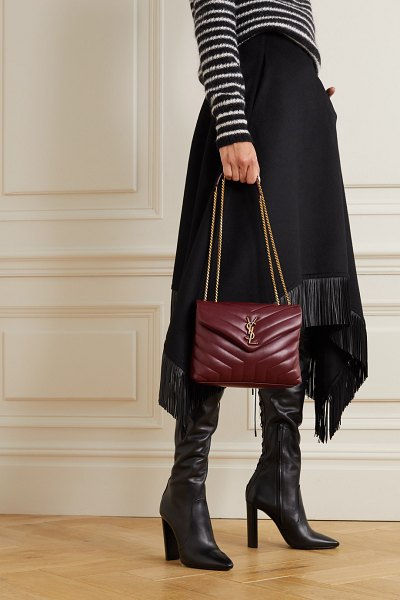Saint Laurent loulou small quilted leather shoulder bag in burgundy