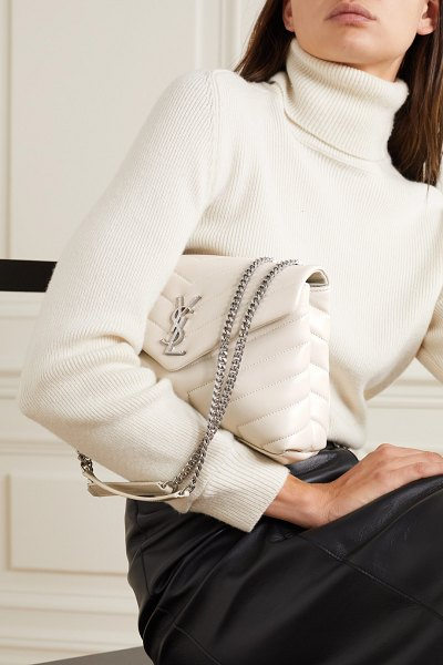 Saint Laurent loulou small quilted leather shoulder bag - off-white in white