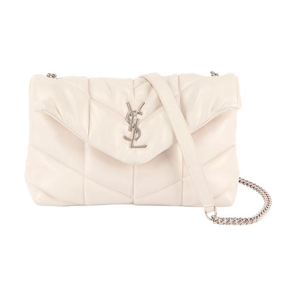Saint Laurent LouLou Toy YSL Puffer Quilted Crossbody Bag in white