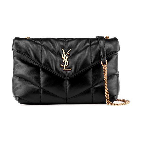 Saint Laurent LouLou Toy YSL Puffer Quilted Lambskin Crossbody Bag in 1000 nero