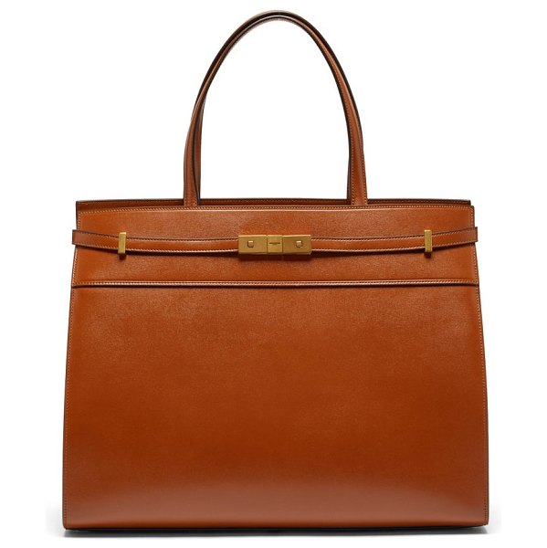 Saint Laurent manhattan medium leather tote bag in tan