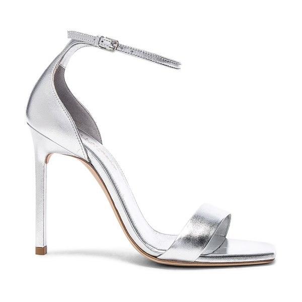 b61ca0cbd7e Saint Laurent Metallic Leather Amber Ankle Strap Heels in Gray ...
