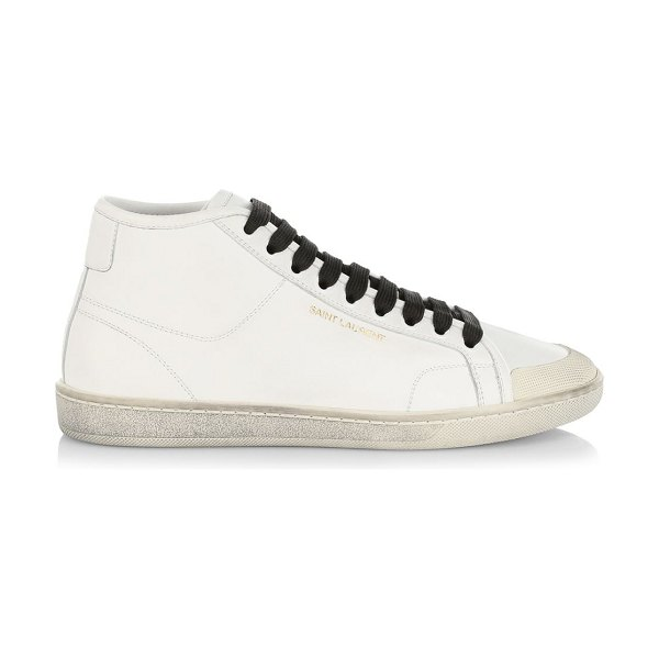 Saint Laurent mid-top leather sneakers in white