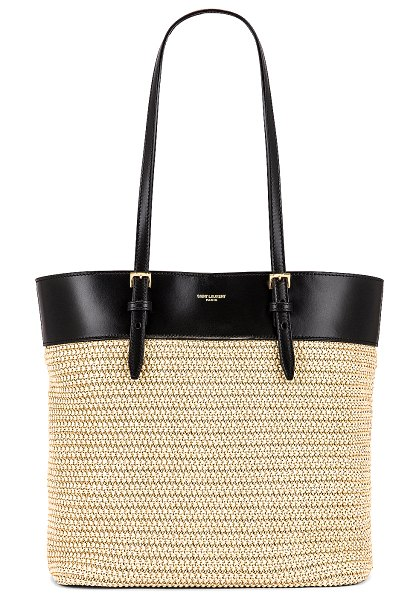 Saint Laurent mini east west shopping tote in natural & black