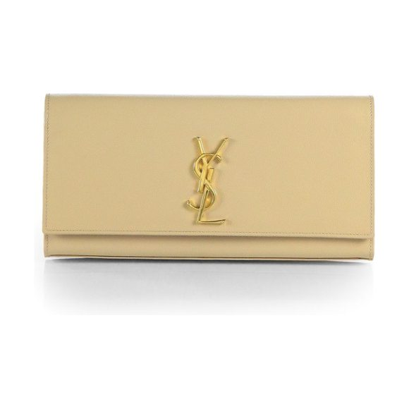 Saint Laurent kate leather clutch in nude