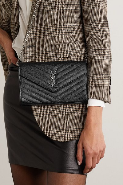 Saint Laurent monogramme mini quilted textured-leather shoulder bag in black