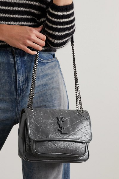 Saint Laurent niki baby mini crinkled glossed-leather shoulder bag in dark gray