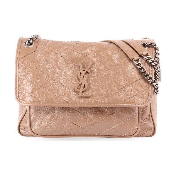 Saint Laurent Niki Medium Monogram YSL Shiny Waxy Quilted Shoulder Bag in taupe - Saint Laurent shoulder bag in chevron-quilted leather...