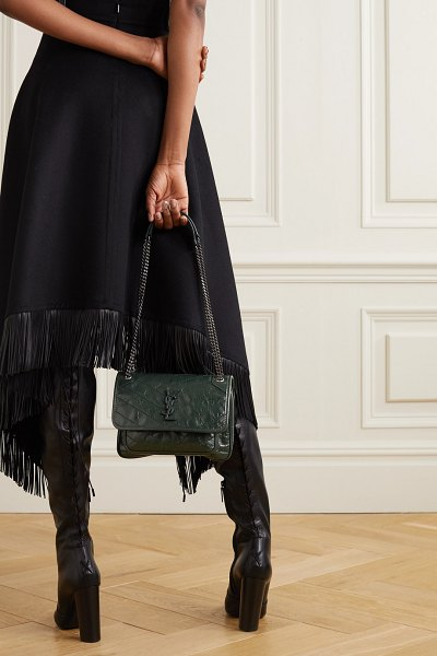 Saint Laurent niki mini crinkled glossed-leather shoulder bag in dark green