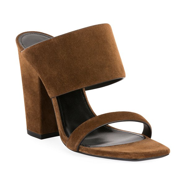 Saint Laurent Oak Suede Mule Sandals in light brown