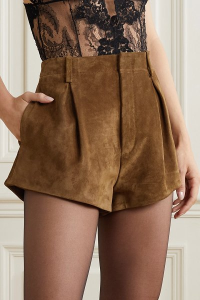 Saint Laurent pleated suede shorts in brown
