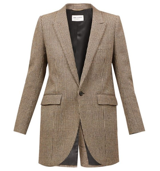 Saint Laurent prince of wales-check wool-blend twill blazer in beige multi