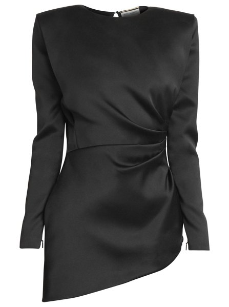 Saint Laurent ruched silk mini dress in nero