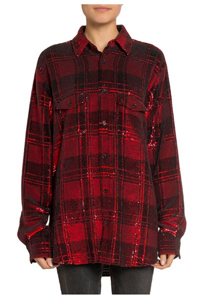 Saint Laurent Shimmer Plaid Boyfriend Shirt in black