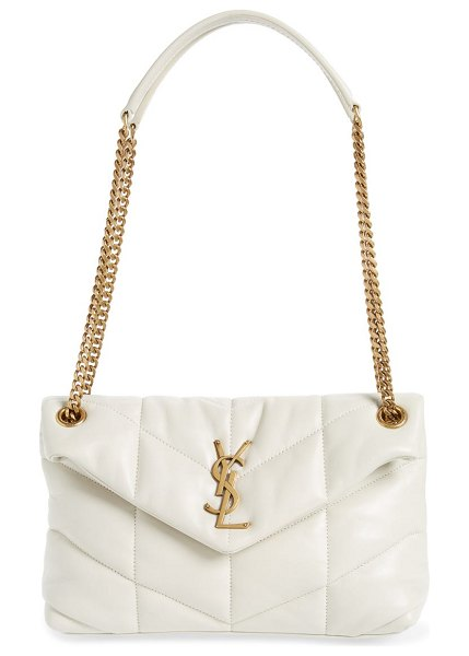 Saint Laurent small loulou leather puffer bag in crema soft