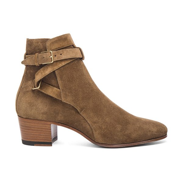 SAINT LAURENT Suede Blake Buckle Boots - Suede upper with leather sole.  Made in Italy.  Shaft...