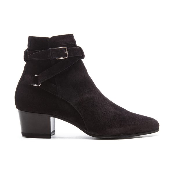 Saint Laurent Suede Blake Buckle Boots in black - Suede upper with leather sole.  Made in Italy.  Shaft...