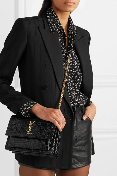 Saint Laurent sunset small croc-effect patent-leather shoulder bag in black
