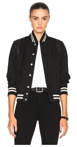 SAINT LAURENT Teddy Gabardine Bomber Jacket - Self: 100% wool - Contrast Fabric: 100% lambskin leather -...