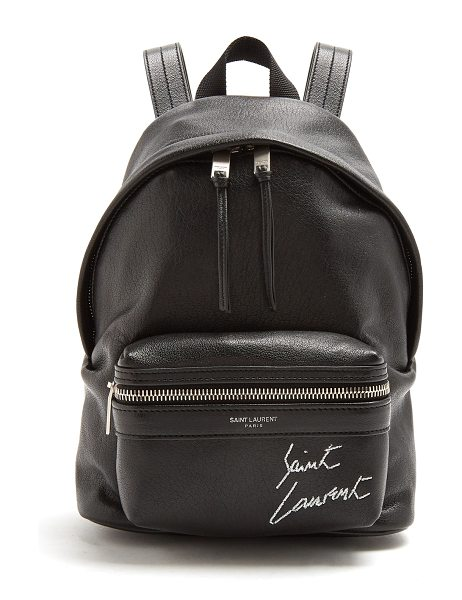 Saint Laurent Toy City logo-embroidered mini leather backpack in black - Saint  Laurent s take 36095fac4d