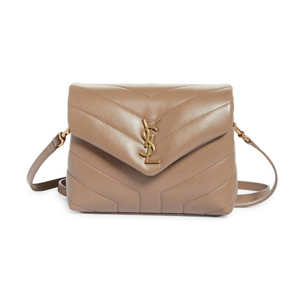 Saint Laurent toy loulou quilted leather crossbody bag in taupe