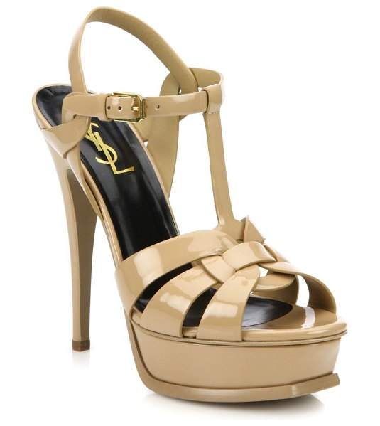 Saint Laurent tribute patent leather platform sandals in black,dark nude - Sky-high heel elevates iconic patent leather sandal....
