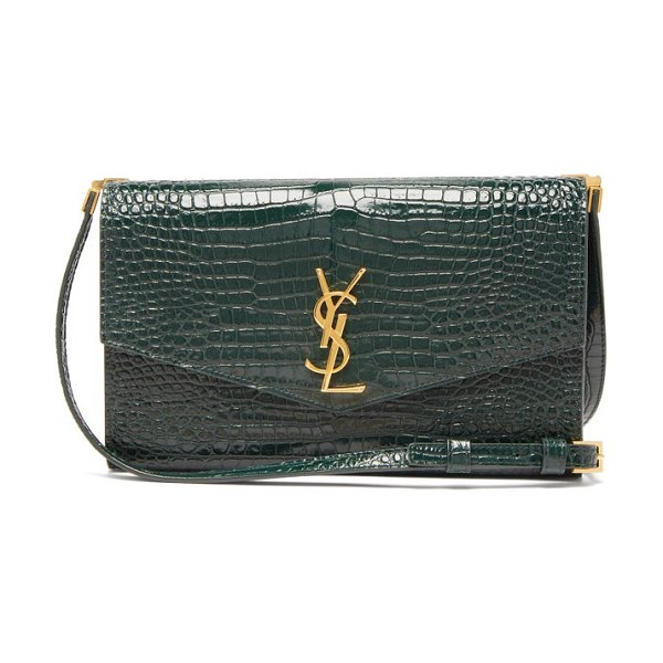 Saint Laurent uptown crocodile-effect leather cross-body bag in dark green