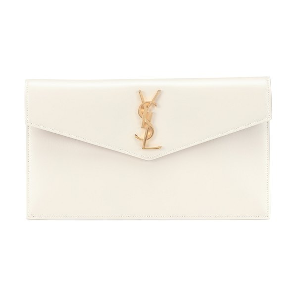 Saint Laurent uptown leather clutch in white