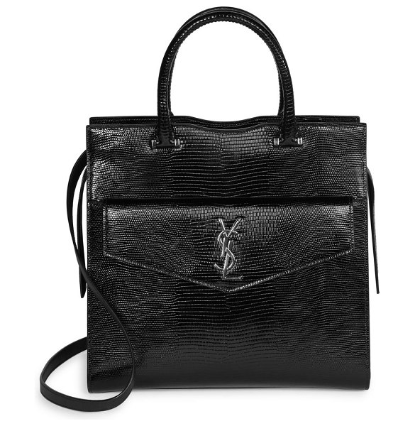 Saint Laurent medium uptown lizard-embossed leather satchel in black