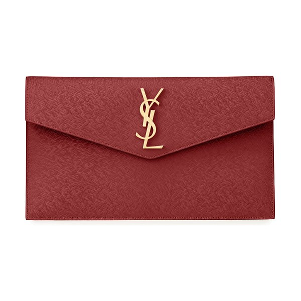 Saint Laurent Uptown Medium YSL Monogram Grain de Poudre Clutch Bag in dark red