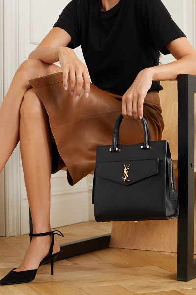 Saint Laurent uptown small textured-leather tote in black