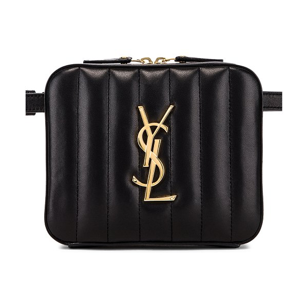 "Saint Laurent Vicky Belt Bag in black - ""Supple quilted calfskin leather with grosgrain lining..."