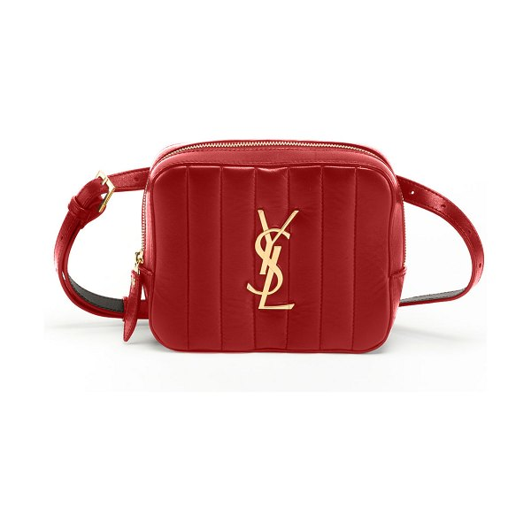 Saint Laurent Vicky Horizontal Quilted Belt Bag in red
