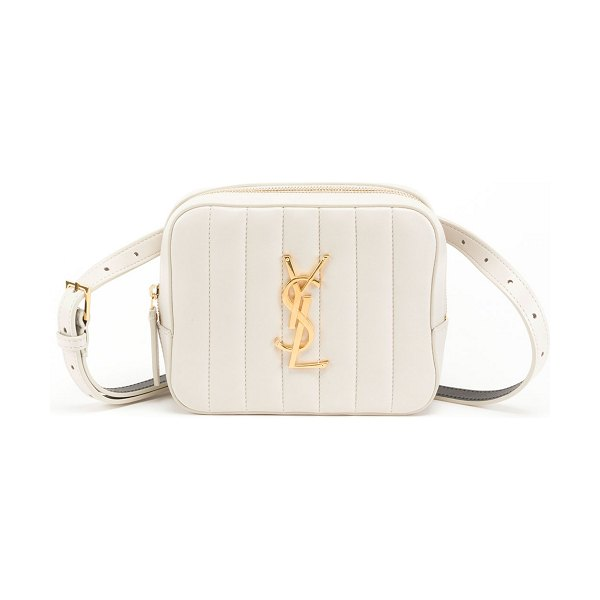 Saint Laurent Vicky Horizontal Quilted Belt Bag in white