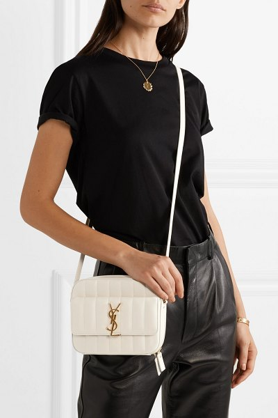 Saint Laurent vicky quilted leather camera bag in cream