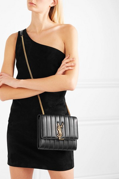 Saint Laurent vicky quilted leather shoulder bag in black - Saint Laurent's 'Vicky' bag is one of Anthony...
