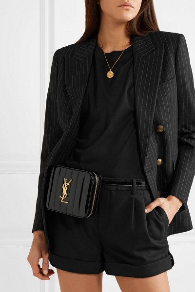 Saint Laurent vicky quilted patent-leather belt bag in black