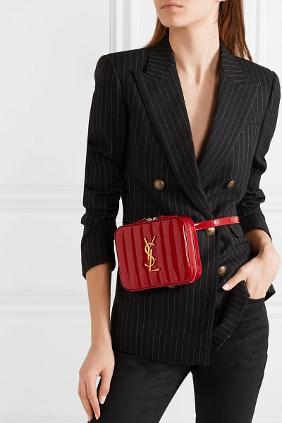 Saint Laurent vicky quilted patent-leather belt bag in claret