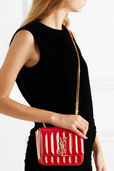 Saint Laurent vicky small quilted patent-leather shoulder bag in red