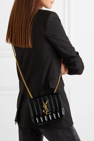 Saint Laurent vicky small quilted patent-leather shoulder bag in black