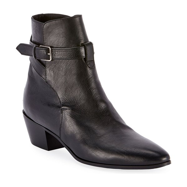 Saint Laurent West Jodhpur Leather Booties in black