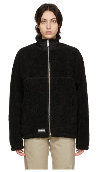 SAINTWOODS sherpa lightning zip sweater in black
