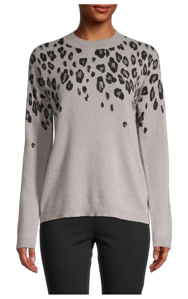 Saks Fifth Avenue Cascading Leopard-Print Cashmere Sweater in drift wood