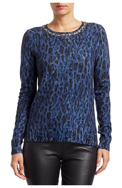 Saks Fifth Avenue COLLECTION Embellished Leopard-Print Cashmere Sweater in navy dusk